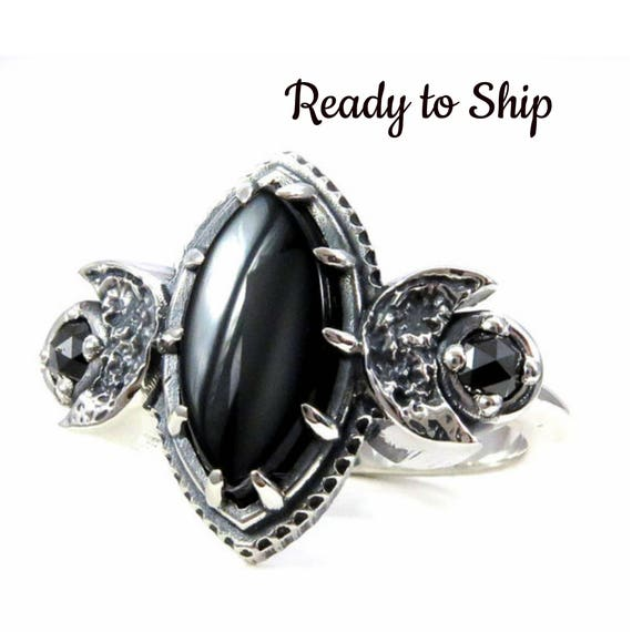 Ready to Ship Size 6 - 8 Marquise Onyx Moon Ring with Rose Cut Black Diamonds or Moissanites - Gothic Silver Engagement