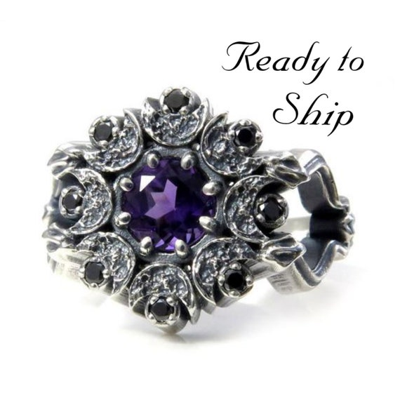Ready to Ship Size 6-8 - Snake and Moon Amethyst Gothic Engagement Ring with Black Diamonds - Memento Mori