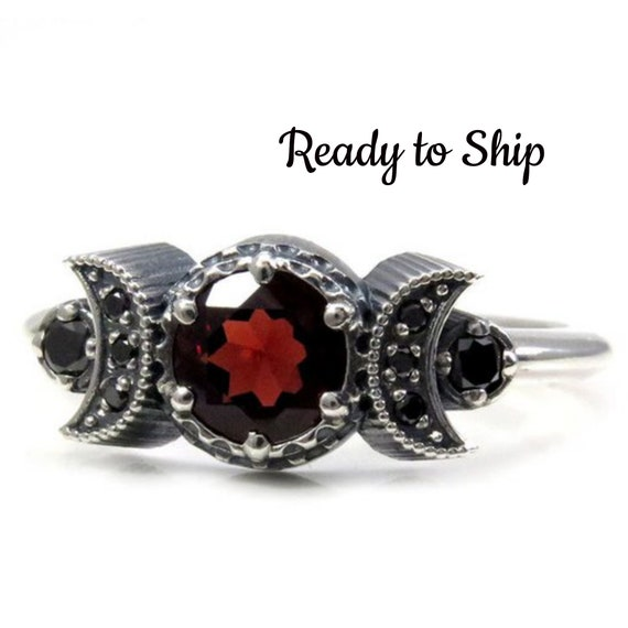 Ready to Ship Size 7 - 9 - Hecate Moon Engagement Ring Set - Garnet with Black Diamonds - Gothic Sterling Silver Jewelry