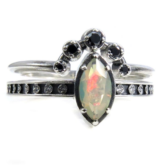 Opal Moon Ring with Black Diamond Orbit Wedding Band - Sterling Silver Engagement Ring Set