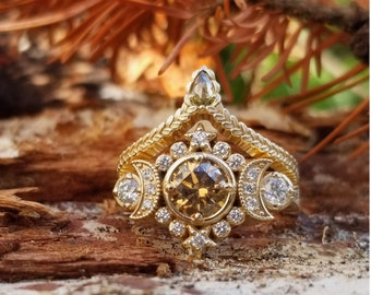Ready to Ship Size 6 - 8 - Selene Moon Goddess Ring - Natural Champagne Diamond with White Diamonds - 14k Yellow Gold