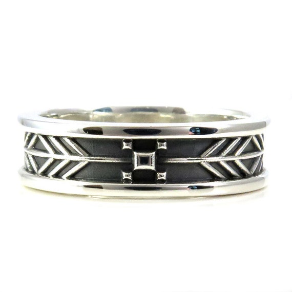 Mens Arrow Tail Wedding Ring - Sterling Silver - Native American South Western