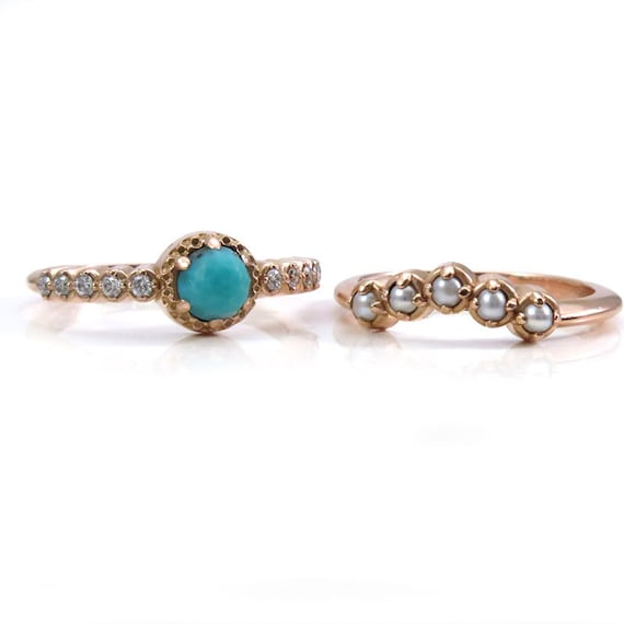 Seed Pearl, Turquoise and Diamond Engagement Ring Set - Modern Victorian Wedding Rings - 14k Rose Gold