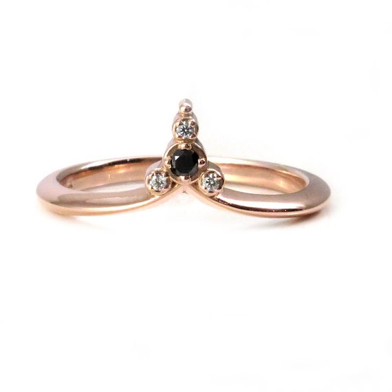Tiny Diamond Cluster Ring - 14k Rose Gold Stacking Minimalist Wedding Band with Black and White Diamonds