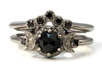 Black Diamond and Black Spinel Moon Engagement  - Victorian Gothic Palladium White Gold Ring Set