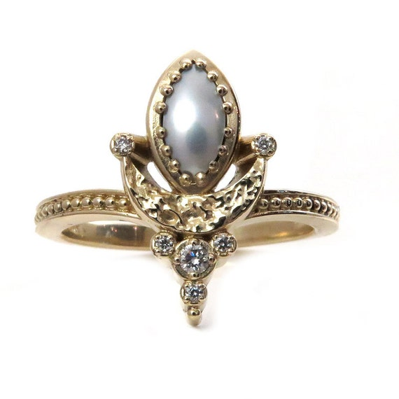 Ready to Ship Size 7-9 Marquise Pearl Moon Mistress Ring with Tiny Diamonds - 14k Yellow Gold Modern Fine Jewelry