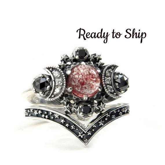 Ready to Ship Size 6-8 Strawberry Quartz Cosmos Moon and Star Celestial Engagement Ring Set - Sterling Silver