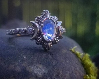 Oval Moonstone Moonfire Engagement Ring - Triple Moon Ring - 14k Palladium  White Gold