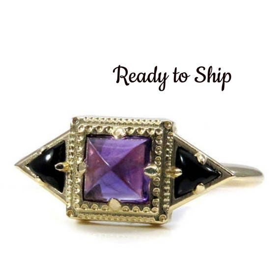 Ready to Ship Size 6-8 Amethyst and Onyx Tomb Memento Mori Ring - 14k Yellow Gold Mourning Jewelry