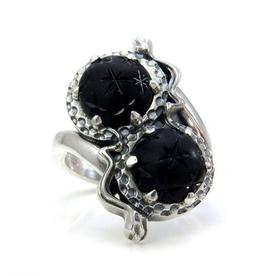 Ready to Ship - Size 6 - 8 - Gothic Toi et Moi Mourning Jewelry - Antique 1800's Victorian Glass Star Orbs - Sterling Silver Snake Ring