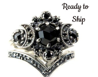 Ready to Ship Size 8 - 10 - Gothic Cosmos Moon Engagement Ring Set Silver Moon and Stardust Chevron Wedding Band