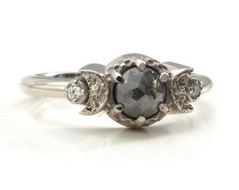 Ready to Ship Size 4 - 6 - Rose Cut Gray Diamond Triple Moon Goddess Engagement Ring with White Diamonds - 14k Palladium White Gold