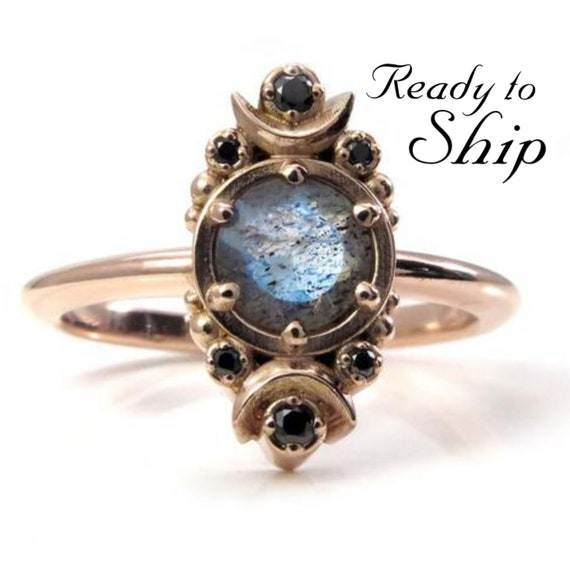 Ready to Ship Size 6 - 8 - Rose Gold Moon Ring - Labradorite and Black Diamond Engagement Ring