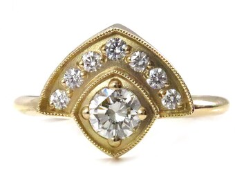 Ready to Ship Size 6 - 8- Art Deco Enagement Ring - Bohemian Modern Diamond Wedding Ring - 18k Yellow Gold