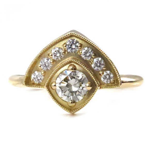 Ready to Ship Size 6 - 8- Art Deco Enagement Ring - Bohemian Modern Diamond Wedding Ring - 18k Yellow Gold