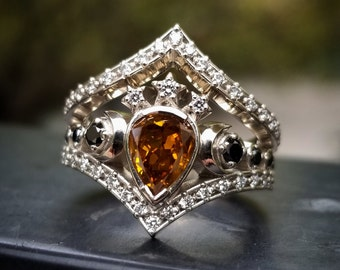 Ready to Ship Size 6 - 8 - Lunar Priestess Diamond Engagement Ring with Pear Champagne Diamond - 14k Palladium White GoldCustom for Spencer