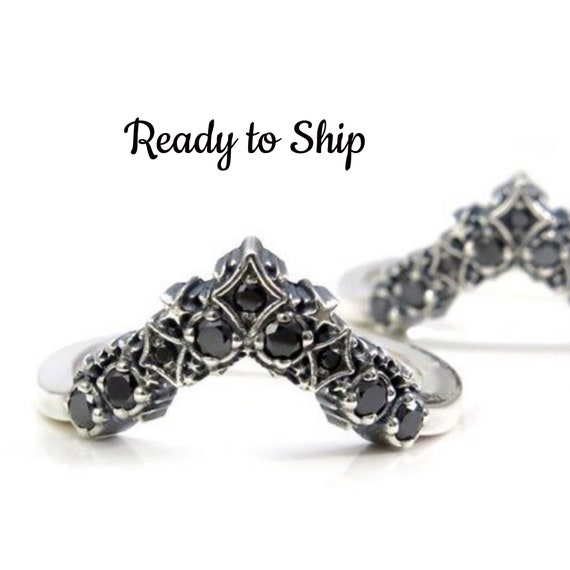 Ready to Ship Size 5 - 7 - Black Diamond Stardust Chevron Wedding Band - Sterling Silver Boho Stacking Ring