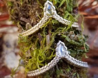 Sage Leaf Chevron with Natural Rose Cut Pear Diamond - Boho Wedding Band - Pick Your Diamond - 14k Gold