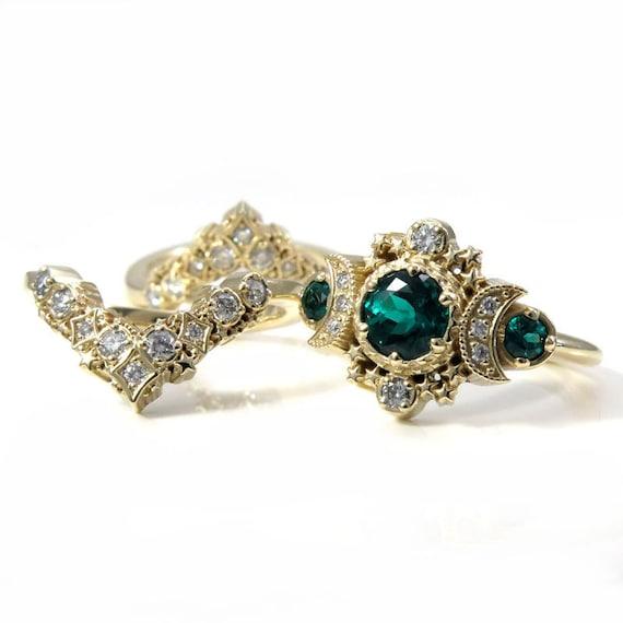 Ready to Ship Size 6 - 8 - Cosmos Stardust Engagement Ring Set - Chatham Emeralds & Diamonds Moon Wedding Set - 14k Yellow Gold