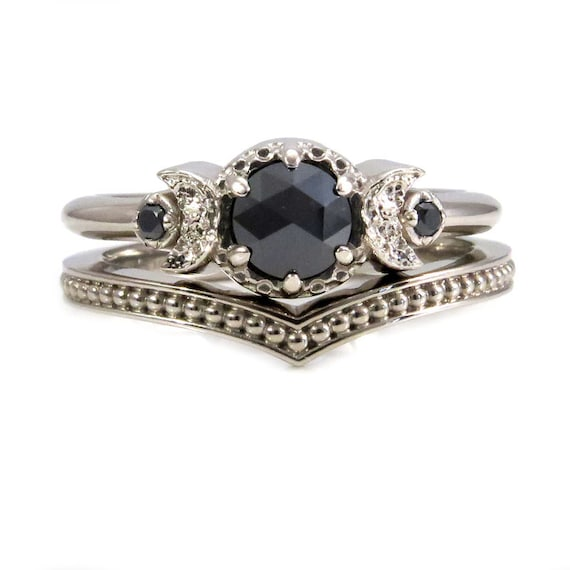 White Gold and Black Diamond Moon Ring Set - Millgrain Chevron Band - Gothic Engagement Rings