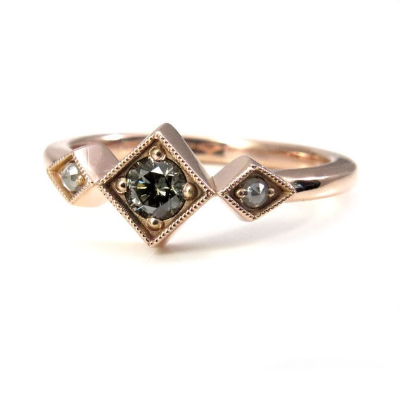 Ready to Ship Size 6 - 8 - Gray Champagne Diamond Art Deco Engagement Ring with White Rose Cut Diamond Sides - 14k Rose Gold