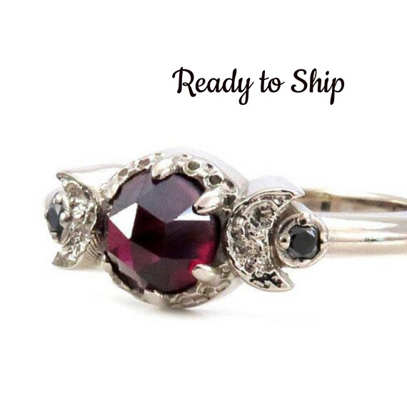 Size 6-8 Ready to Ship - Garnet and Black Diamond Gothic Celestial Engagement Ring