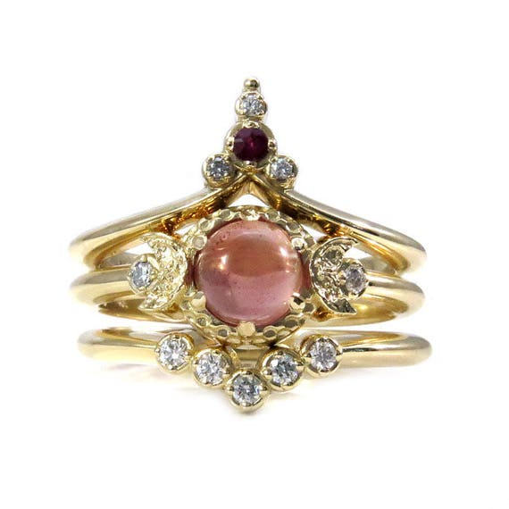 Sunset Moon Temple - Oregon Sunstone Engagement Ring with Ruby and Diamond Wedding Bands