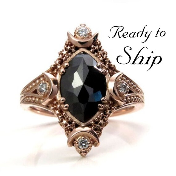 Ready to Ship Size 6 - 8 - Artemis Moon Engagement Ring Set - Rose Cut Marquise Black Diamond with White Diamond Sides