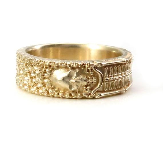 Till Death Do Us Part - Ladies Skeleton Wedding Band - 14k Gold