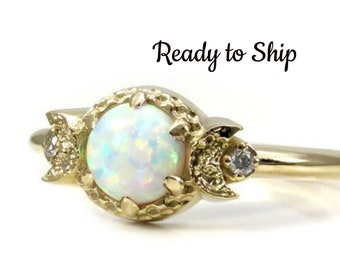 Ready to Ship Size 6 - 8 - Lab Opal Moon Ring - Triple Moon Goddess Engagement Ring