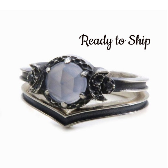 Ready to Ship Size 6 - 7.5 - Blue Chalcedony Black Silver Moon Ring With Chevron Wedding Bands - Celestial Engagement