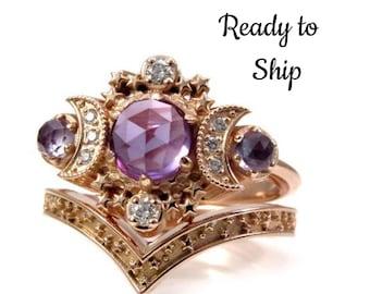 Ready to Ship Size 6-8 - Rose Cut Lab Alexandrite Moon Engagement Ring Set- Rose Gold Boho Fine Handmade Jewelry