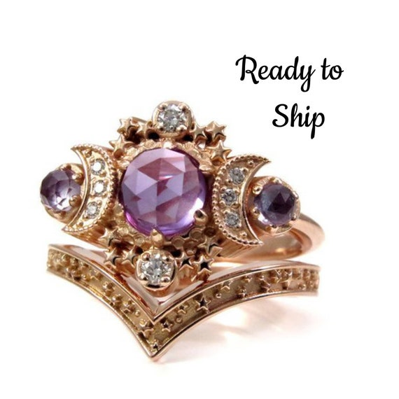 Ready to Ship Size 6-8 - Rose Cut Lab Alexandrite Moon Engagement Ring Set- Rose Gold Boho Fine Handmade Jewelry