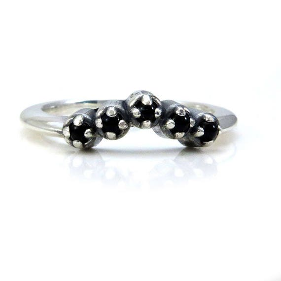 Onyx Chevron Stacking Wedding Band - Sterling Silver