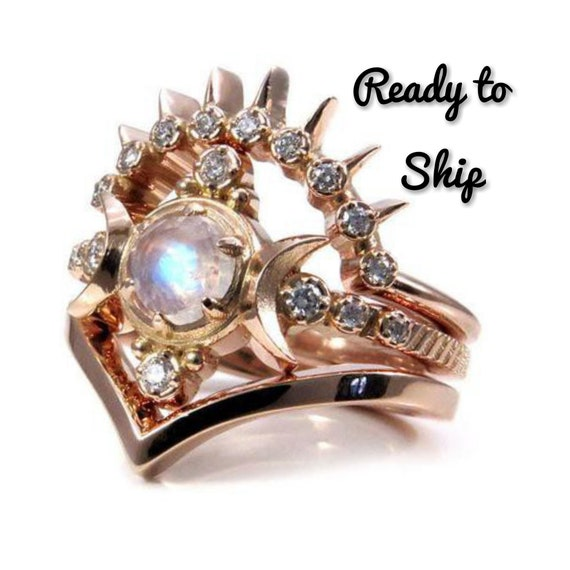Ready to Ship Size 6 - 8 - Rainbow Moonstone Moon Goddess Engagement Ring Set with Sunray and Chevron Wedding Bands