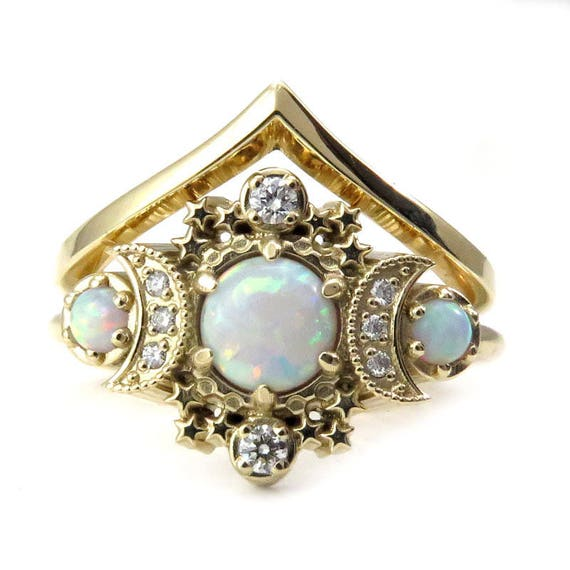 Lab Opal Moon Engagement Ring Set - Gold Star and Diamond Crescent 3 Stone Diamond Ring