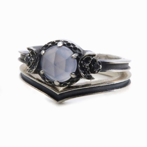 Blue Chalcedony Black Silver Moon Ring With Chevron Wedding Bands - Celestial Engagement