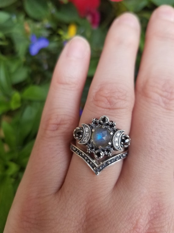 Rose Cut Labradorite Cosmos Moon Engagement Ring Set - Sterling Silver with Black & White Diamonds