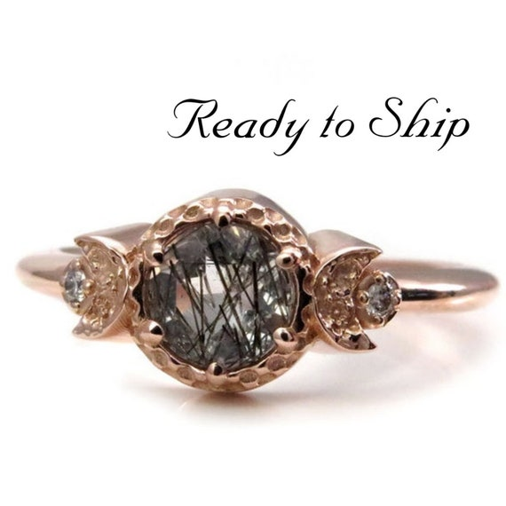 Ready to Ship Size 7 - 9 - Tourmalated Quartz Moon Goddess Engagement Ring -  Rose Gold with Icey Diamonds