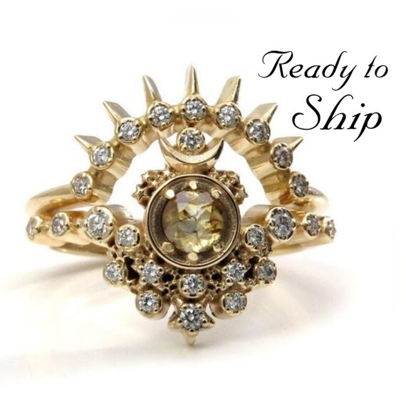 Ready to Ship Size 6 - 8 - Yellow Diamond Moon Witch Engagement Ring Set - Rose Cut Diamond Gothic Engagement Ring Set