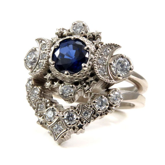 Chatham Sapphire and Diamond Cosmos Engagement Ring Set - Moon Engagement Ring with Stardust Wedding Band