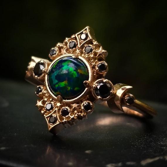 Black Lab Opal Galaxie Engagement Ring - 14k Rose Gold - Black or White Diamond Sides - Boho Moon Wedding Ring