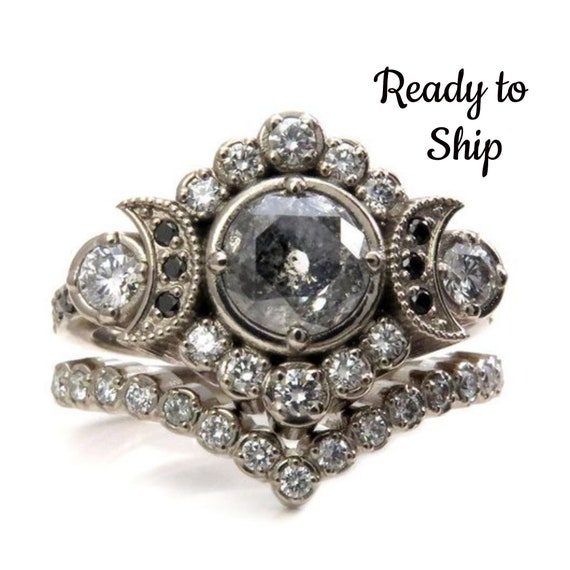 Ready to Ship Size 6 - 8 -European/Mine Cut Salt & Pepper Diamond Moon Engagement Ring Set - 14k Palladium White Gold