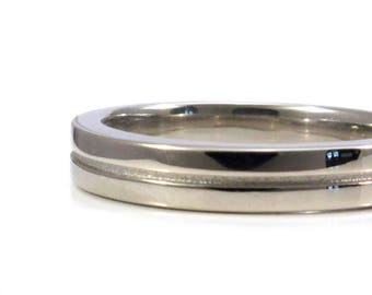 Mens Two Paths Wedding Ring - 4mm Comfort Fit Gold Band