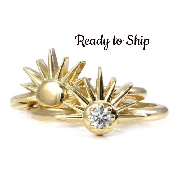 Ready to Ship Size 7-9 - Diamond Sunshine Ring - Art Deco Yellow Gold Sun Engagement Ring