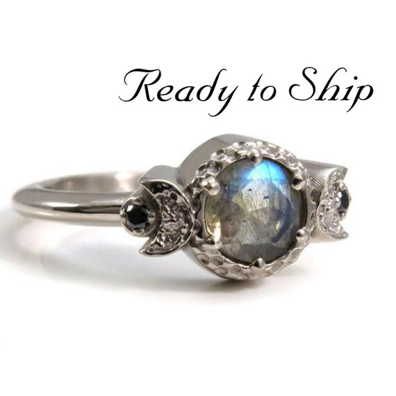 Ready to Ship Size 6 - 8 - Labradorite Triple Moon Engagement Ring  - 14k Palladium White Gold and Black Diamonds
