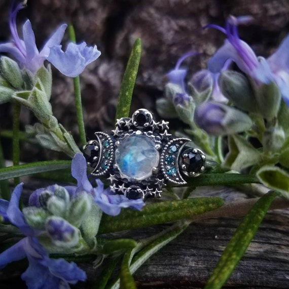 Ready to Ship Size 6 - 8 Cosmos Moon and Star Ring - Rainbow Moonstone with Blue Diamond Moons and Stardust Chevron Wedding Band