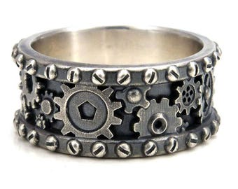 Distressed Silver Gear Ring - Steampunk Industrial Cogs and Rivets Mens Sterling Wedding Band