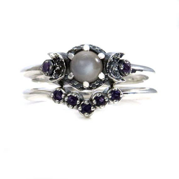 Grey Moonstone and Amethyst Triple Moon Ring with Amethyst Chevron Wedding Band - Sterling Silver