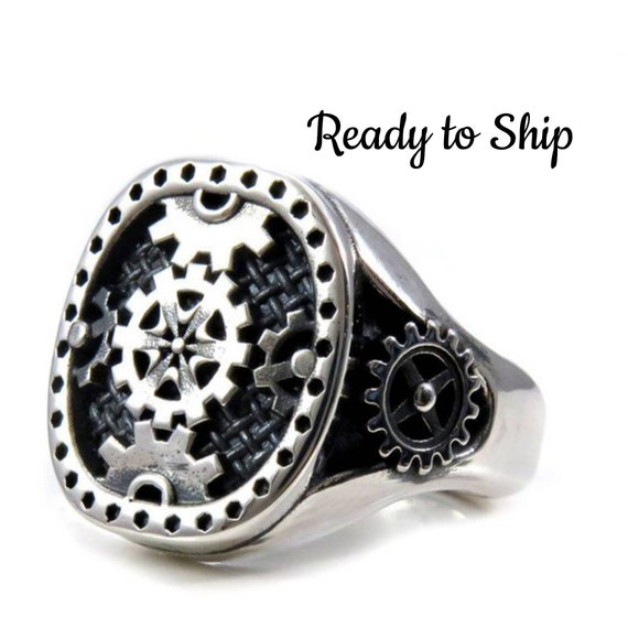Ready to Ship Size 10 - 10.5 - Signet Style Steampunk Gear Ring - Large Mens Sterling Silver Industrial Ring